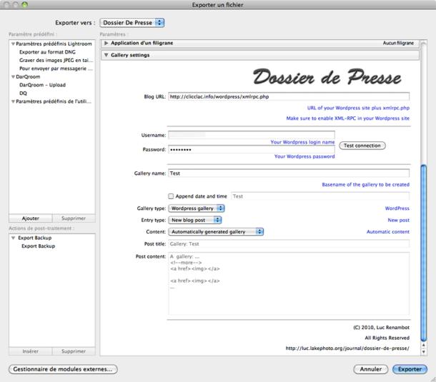 Plug-in WP Dossier de presse